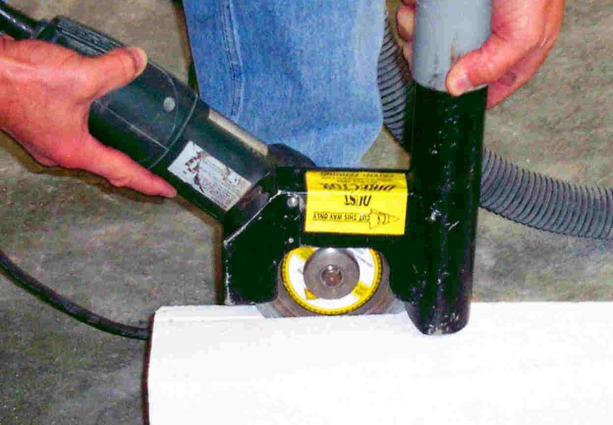 Concrete cutting using a Dust Director.