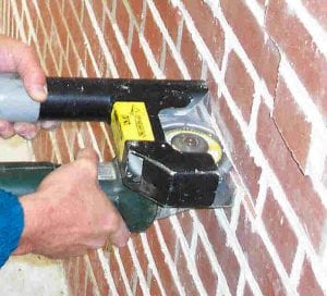 Cutting brick mortar joints - dust free - with complete blade visibility.