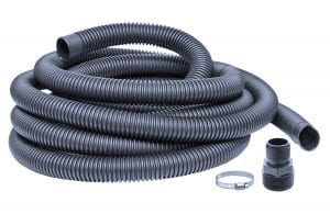 "24' of drainage hose x 1-1/2"" diameter, complete with fittings to attach to effluent pump."