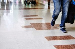 Mall polished floor with DiamaPads.