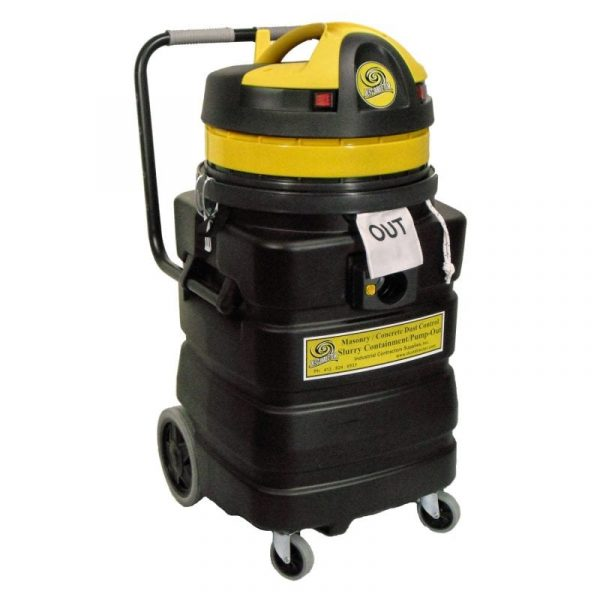 2-Motor 24-Gallon Slurry Vacuum: Solids are contained, filtered gray water is discharged.