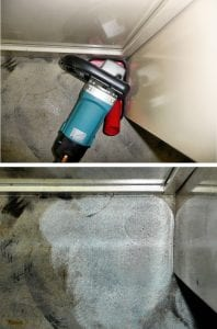 "5"" Surface Corner Dust Guard for wall edging & corner productivity. Shown with Makita 9227C 7"" Polisher (3,000 Rpm). 5"" Corner Guard. Corner & wall edging grinding results."