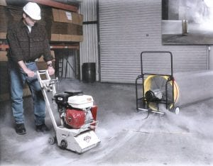 "Dustless Concrete Grinding using a 16"" Industrial Power Blower & Smooth Bore Ducting."
